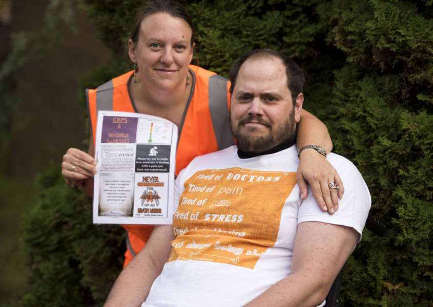 CRPS sufferer Tristan Morris and wife Clara want to encourage people to wear orange on November 6