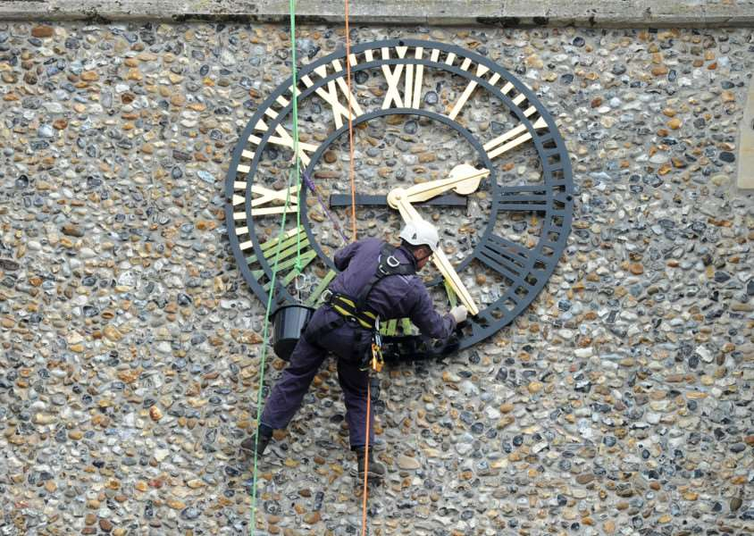 Works are taking place to renovate the giant clocks at the top of St Peter's Church in Sudbury.''''PICTURE: Mecha Morton