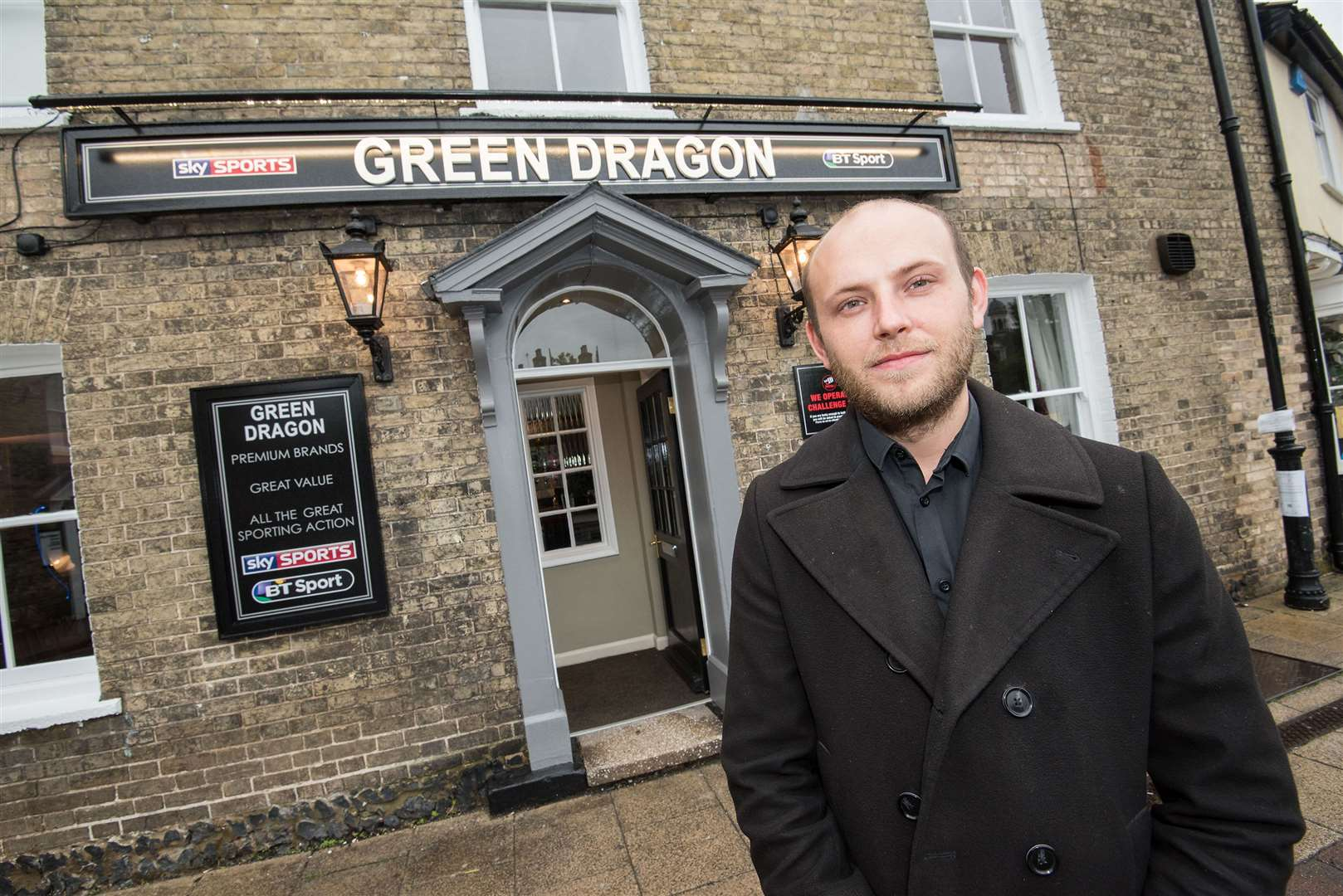 Ashley Jefford outside the newly-refurbished Green Dragon pub, in ThetfordPicture by Mark Westley