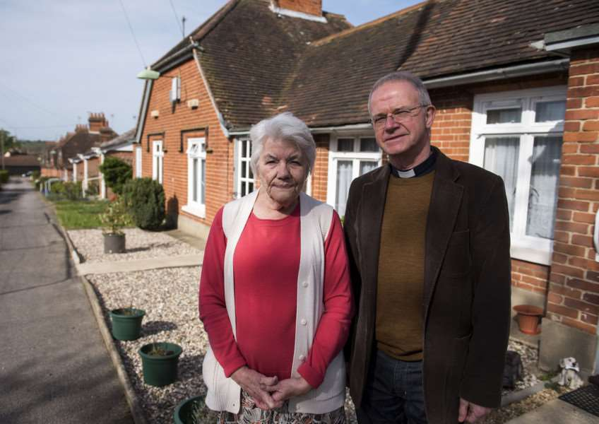 The Row, Hadleigh, cottages behind chappel on George Street'Rev John Parr with resident Maureen Revell who lives in The Row.'Picture Mark Westley