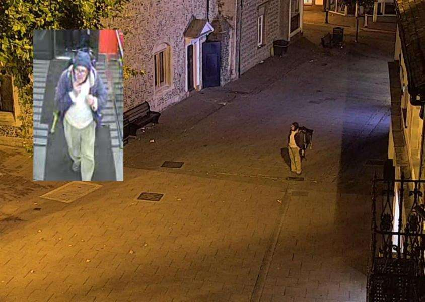 Corrie search images 26 A (inset) and B of a man with a back-pack outside McDonalds