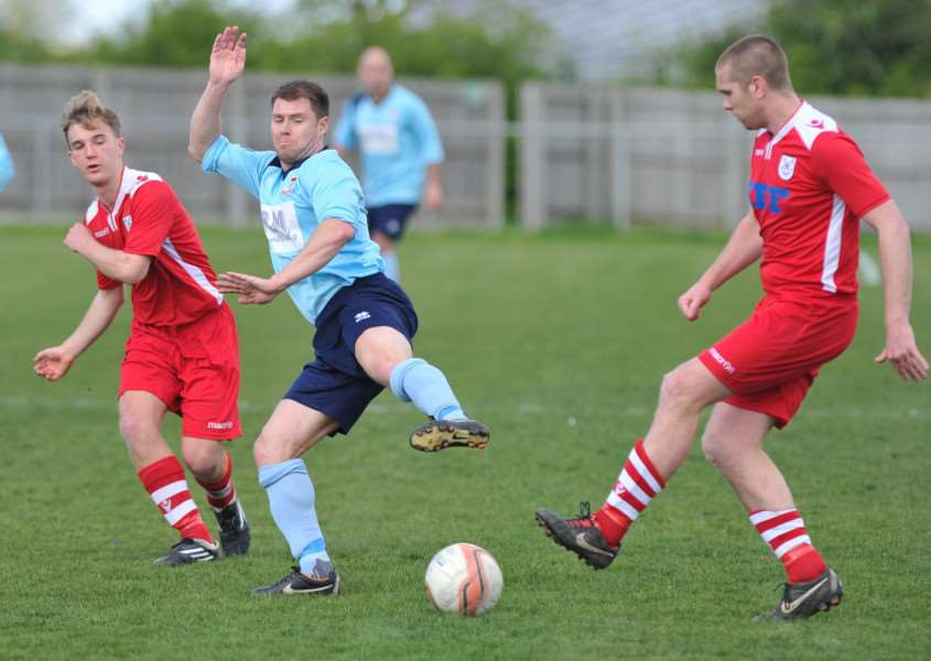 Mitchell Burr, left and Marcus Hunt played their part in Haverhill Rovers 2-0 win at FC Clacton