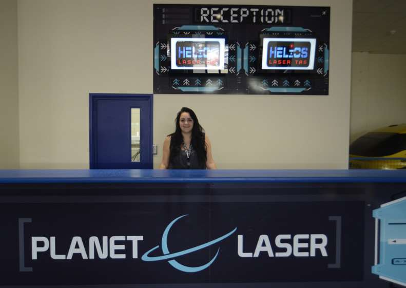 Emma Cross at the reception of PlanetLaser