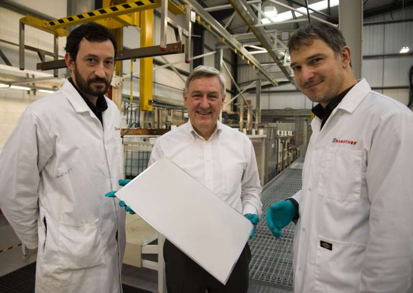 Cambridge Nanotherm Haverhill. From left: 'Przemek Sobiesiak production opperator, CEO Erwin Wolf and Marek Stuchlik VP manager 'Picture by Mark Westley