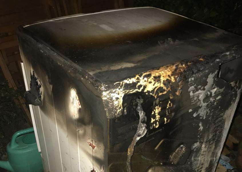 A recalled tumbledryer which caught fire in a Mildenhall home ANL-161223-105521001