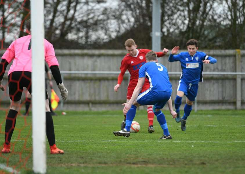 KEY PLAYER: Defender Alfie Carroll scored a brace as Haverhill Rovers beat Brantham Athletic (Picture: Mark Bullimore)