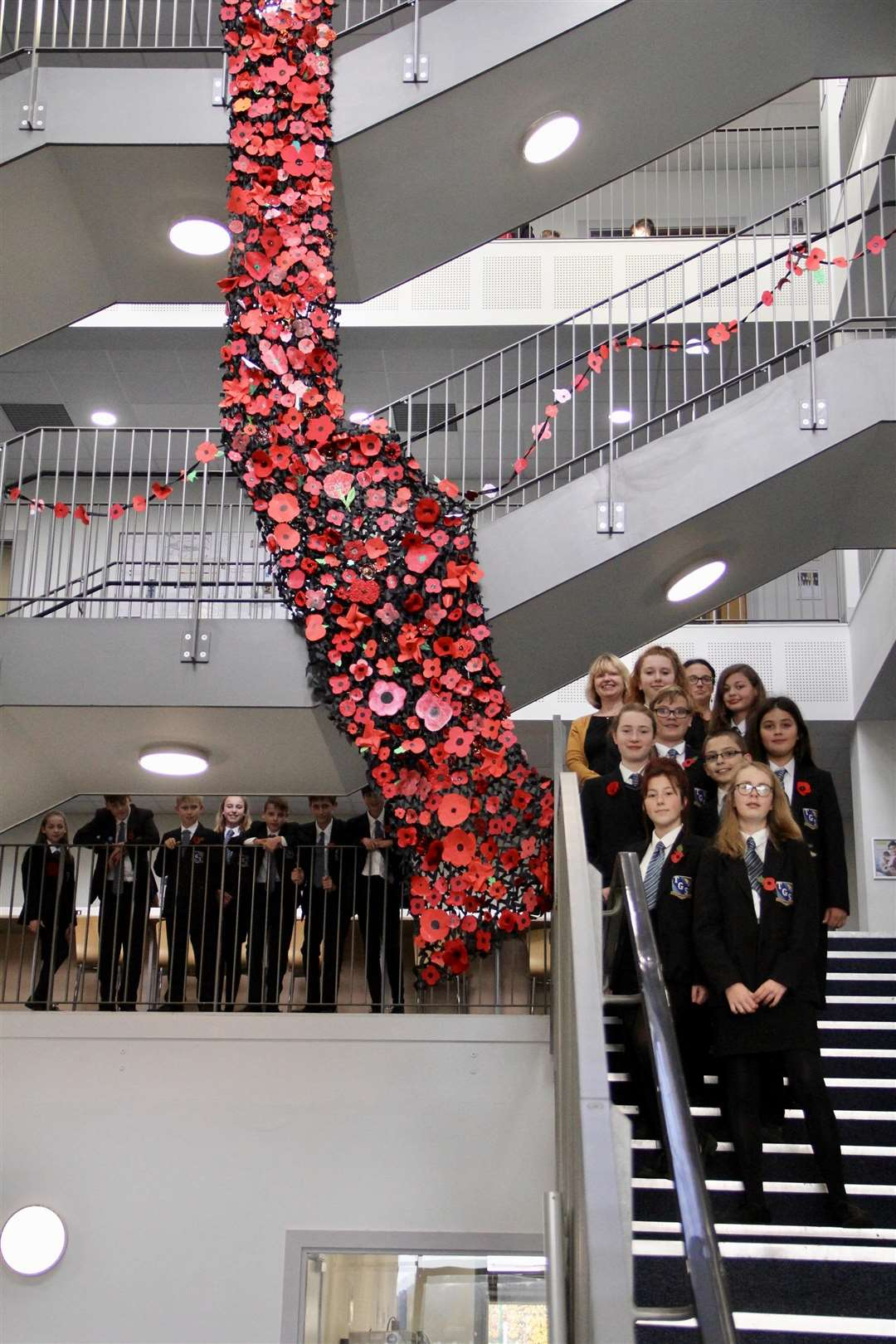 Hundreds of students at Thomas Gainsborough School have united to create a poignant poppy display ahead of Remembrance Sunday. (5252563)