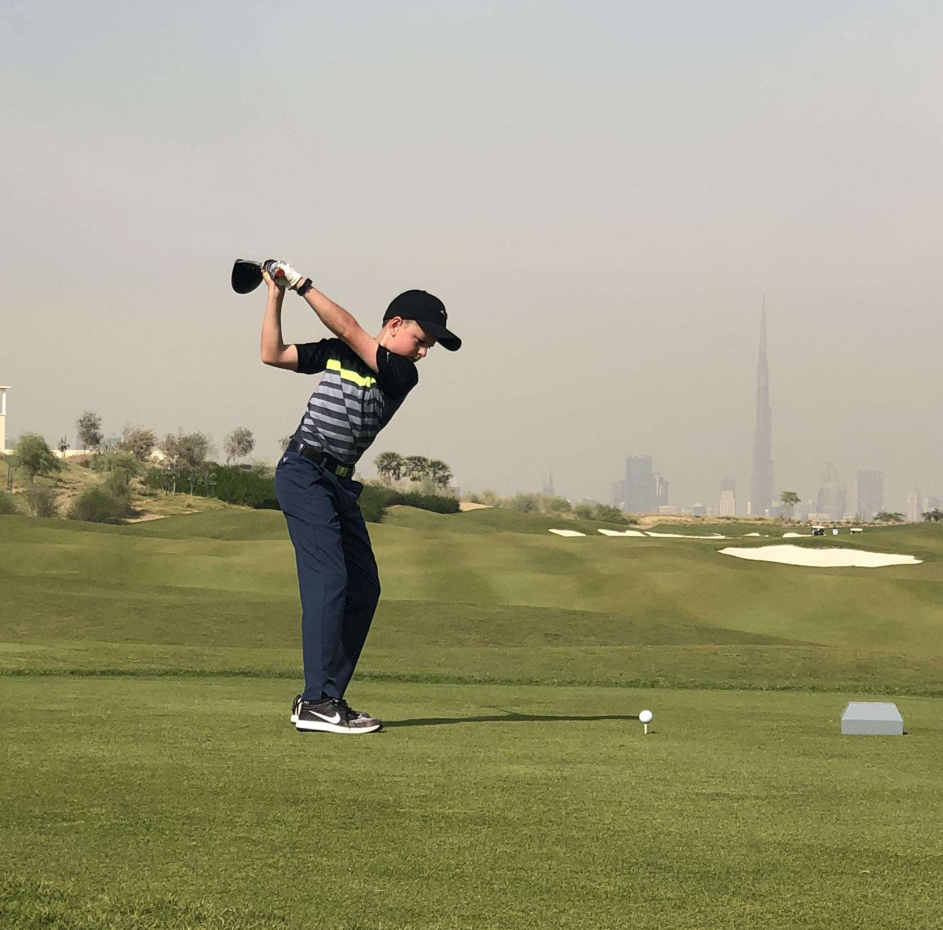 Paul Collington playing on the Junior Masters Tour in Dubai