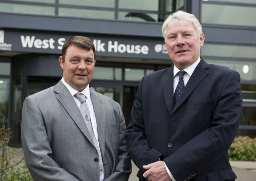 James Waters and John Griffiths, leaders of Forest Heath District and St Edmundsbury Borough Councils.'Picture: Mark Westley.