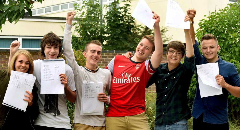 Thomas Gainsborough School students in Great Cornard receive their A-Level results.'Top students Rachel Miller, Luke Williams, Callum Fuller, Jordan Higgins, Adam Faiers and Angus Marshall ANL-150813-134243009