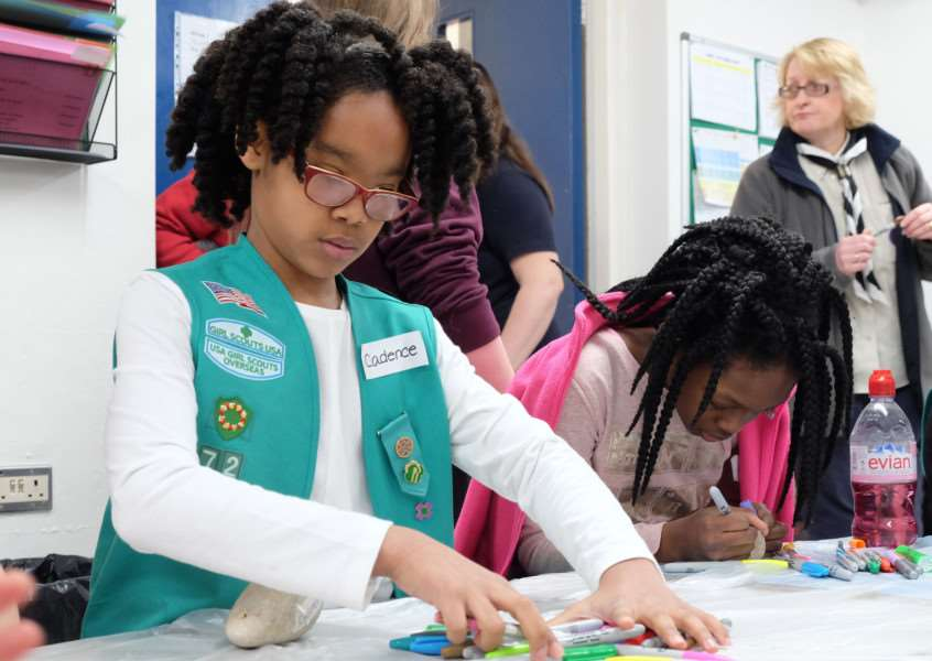 American Girl Scouts enjoy the International gathering in Mildenhall to celebrate World Thinking Day