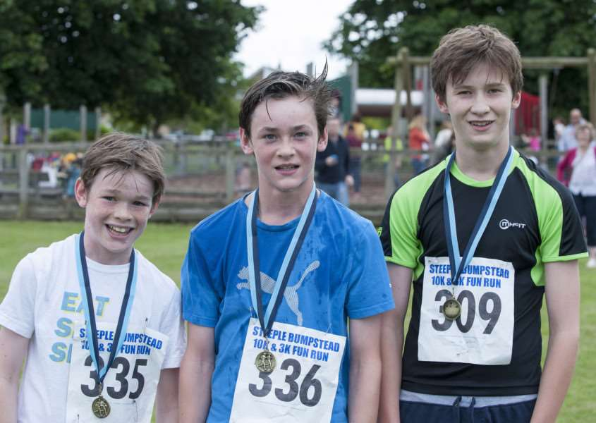 The top three in the 3km fun run. 1st, Bertie Tweed (336), 2nd Archie Tweed (335) and 3rd Gregor Ashton (309)