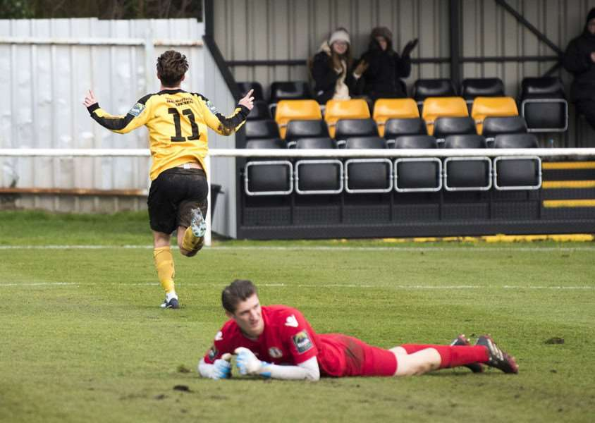 EASY DOES IT: Chambers-Shaw wheels away for Mildenhall after scoring (Picture: Mark Westley)