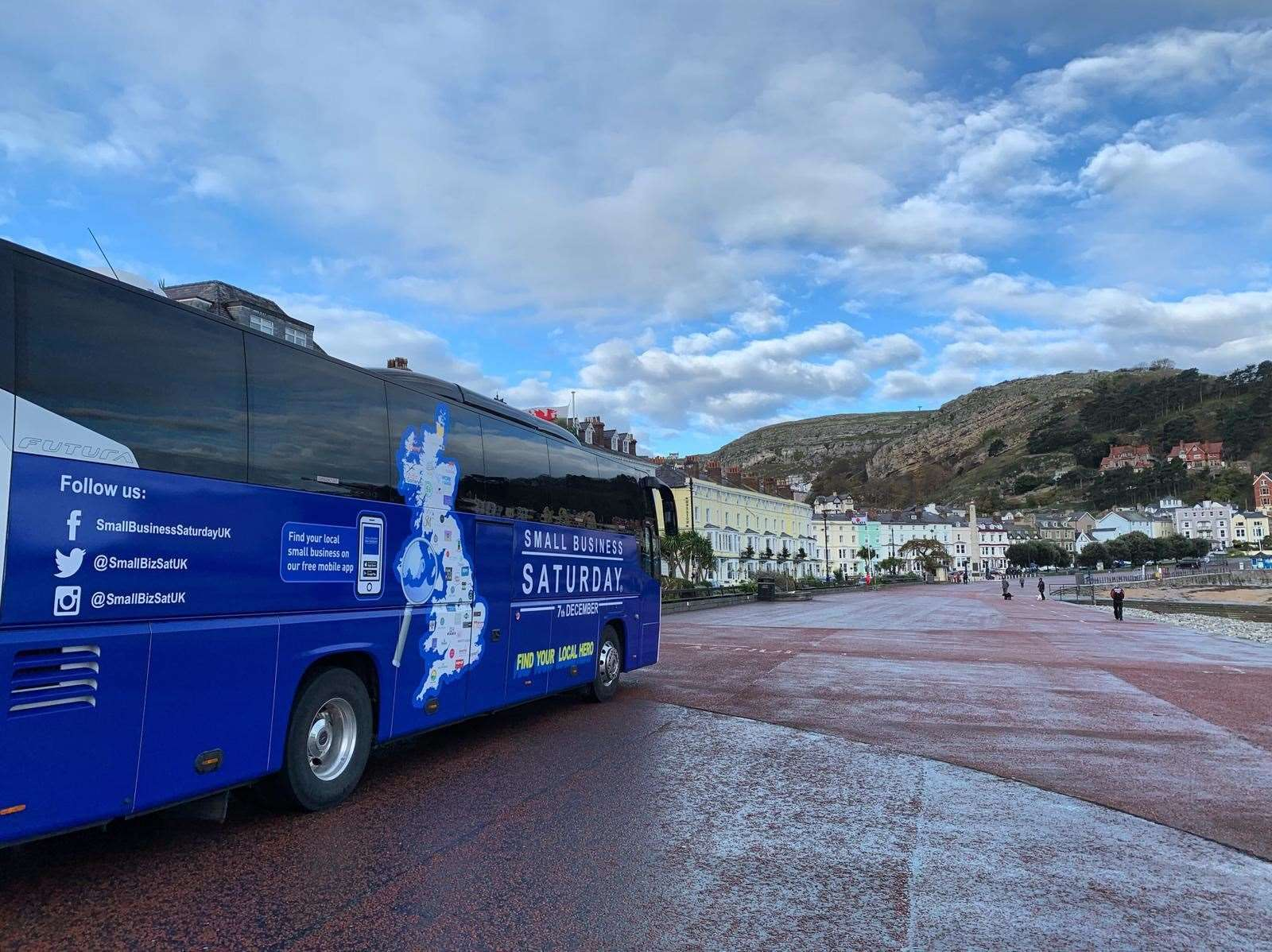 The Small Business Saturday bus pulls into Llandudno in Wales