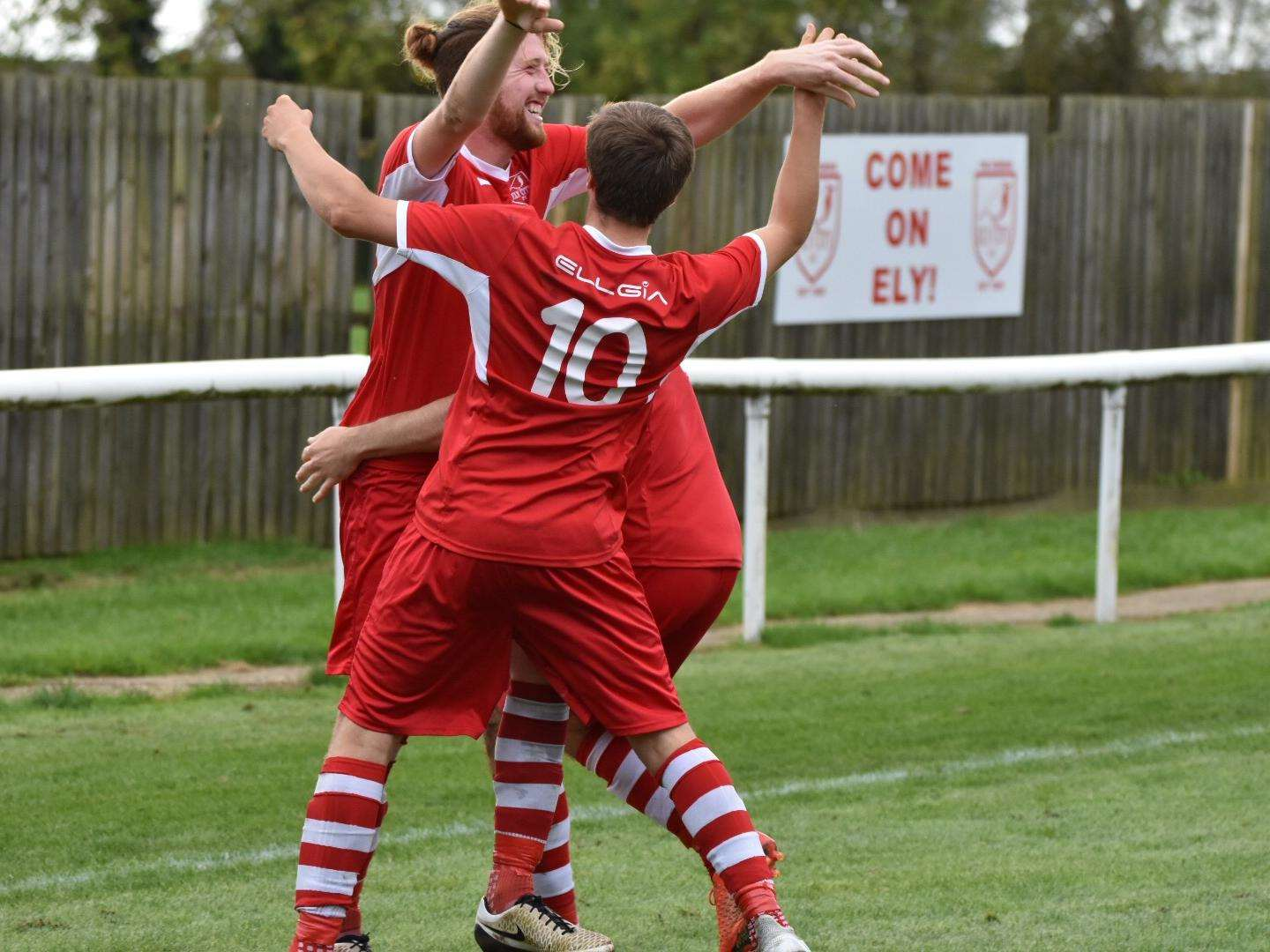 ON TARGET: Ely celebrate Tom Williams' goal during their 3-1 win over Kirkley. Picture: April Urquhart