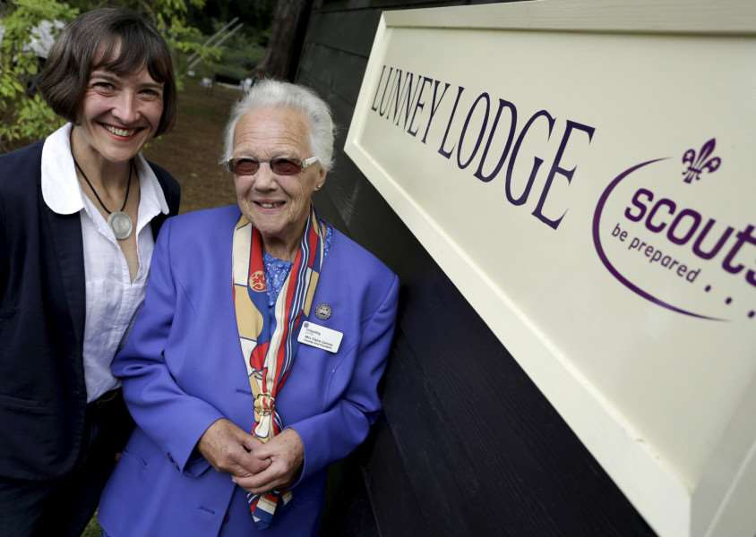 Bradfield Combust, Suffolk. Naming of Lunney Lodge which has just been externally refurbished through fund-raising and donations at the Bradfield Combust Scout camp site. Pictured are Dr Rachel Lunney and Claire Lunney. ''Picture: MARK BULLIMORE ANL-160810-224030009