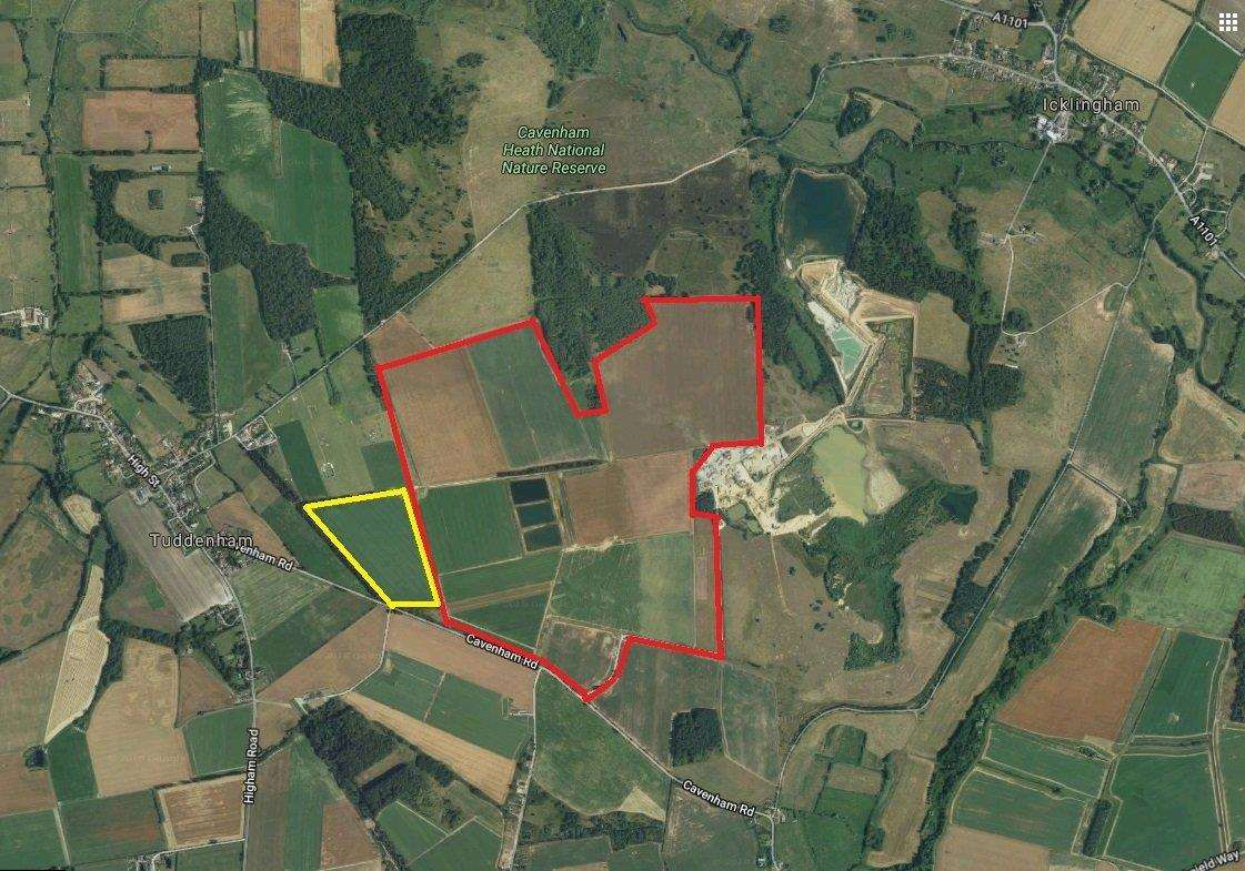 The proposed quarry extension at Cavenham, outlined red, with the area removed following 2017 consultation outlined in yellow..Map: Google Maps. (2491234)