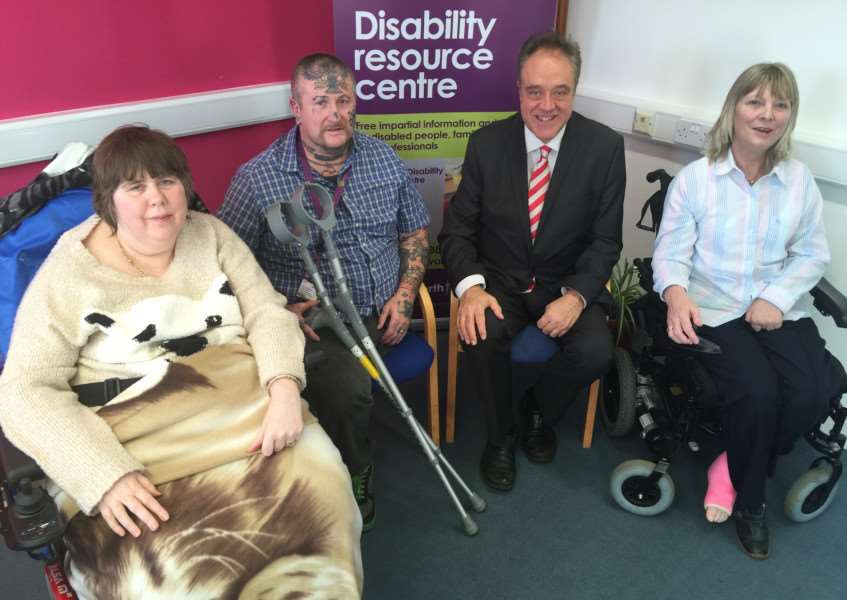 From the left Alison Copping, Neil Aldous, Richard Howitt and Janet Banks at the West SuffolkDisability Resource Centre ANL-150712-145255001