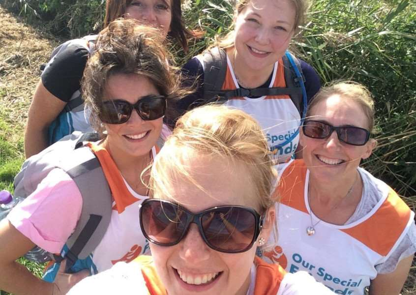 Uplands Way Veterinary Clinic walkers Kathryn Trett, Claire Overall, Rebecca Rivett, Janine Healey, Lindsey Frasier and Rachel Hearn during their endurance walk for Our Special Friends