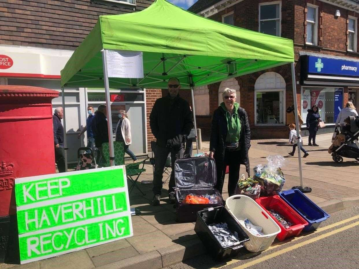 Nick Keeble and Jackie Pedzinski on the Keep Haverhill Recycling collection point on Haverhill Market. Submitted picture