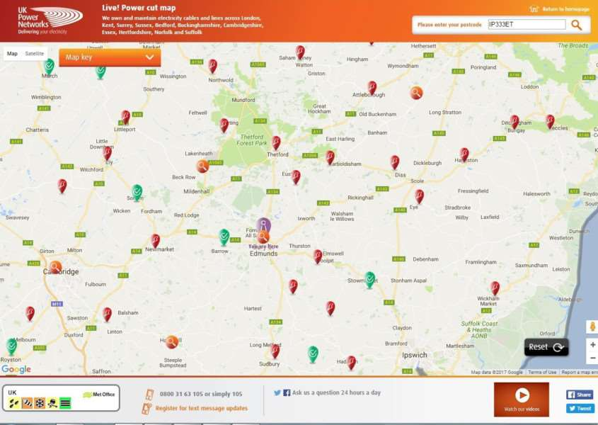 Red powercut markers are covering UK Power Network's live power cut map of Suffolk