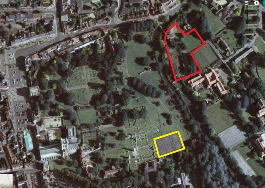Bury St Edmunds Abbey Gardens with the former Eastgate Nursery site outlined in red and the existing tennis courts in yellow. 'Map: Google Earth