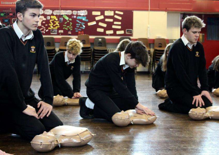 Students at King Edward VI School, in Bury St Edmunds, are learning CPR skills thanks to new state-of-the-art training kits