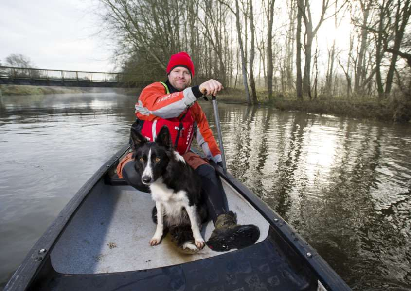 Santon Downham, Suffolk. The Dog Backpacker is all about experiencing the outdoors with your dog and staying fit and healthy. Pictured is Paul Norris with his dog Milly. ''Picture: MARK BULLIMORE PHOTOGRAPHY