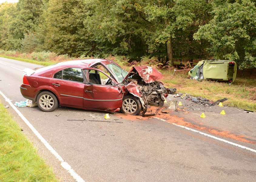 The scene of the Sunday October 9 crash on the B1107 Thetford Road at Santon Downham ANL-161212-140052001