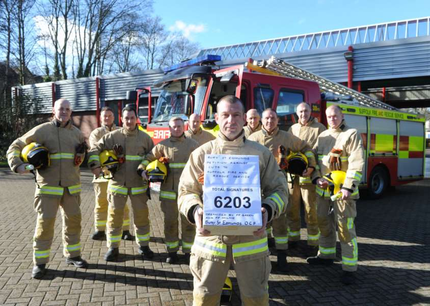 Bury firefighters with the petition. ANL-160216-134233009