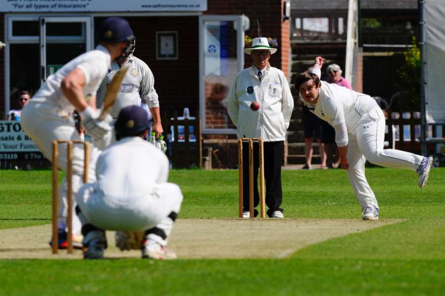 Ben Wilkins bowling for Haverhill II who beat Wivenhoe II