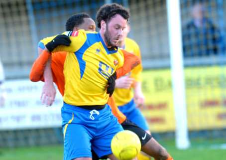 BATTLING: James Baker has his sights set on being fit for Saturday's FA Trophy tie at Braintree