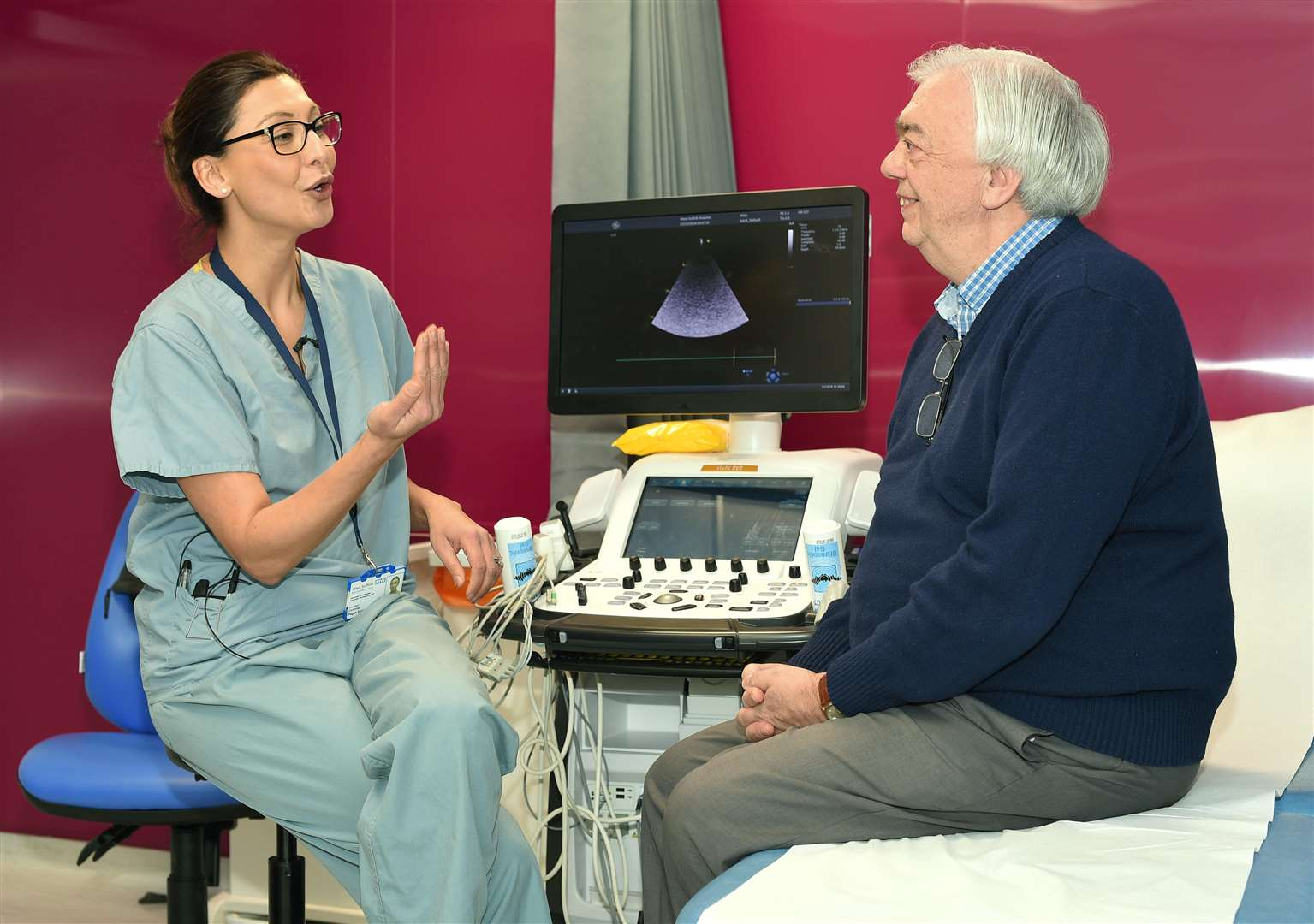 Dr Pegah Salahshouri, cardiology consultant at the West Suffolk NHS Foundation Trust talking with Tony Nunn, one of the first patients to have a pacemaker fitted in the new cardiac centre at West Suffolk Hospital.