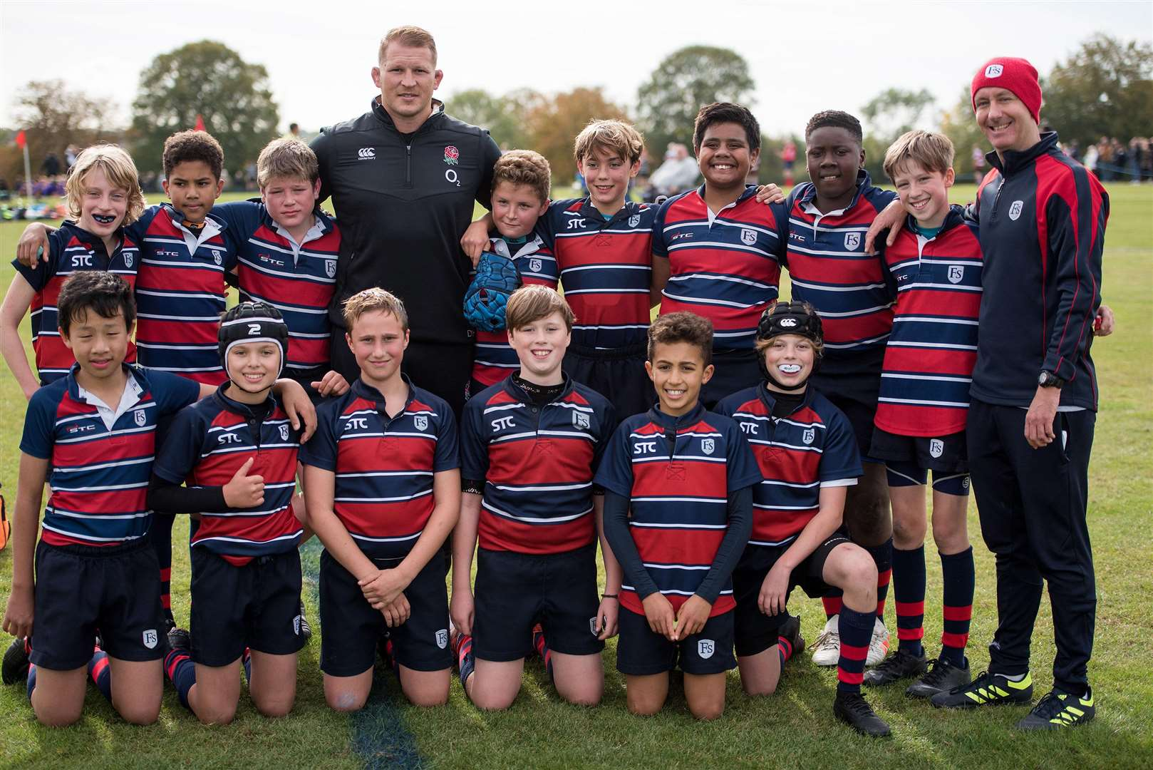 GREAT FINBOROUGH: England Rugby Captain Dylan Hartley visiting school .Finborough School, Finborough Hall, Great Finborough.On Sunday 7th October Finborough School have their 10th annual community rugby festival we are proud to welcome England Rugby Captain Dylan Hartley to address the young players and present the awards. Picture Mark Westley. (4696343)