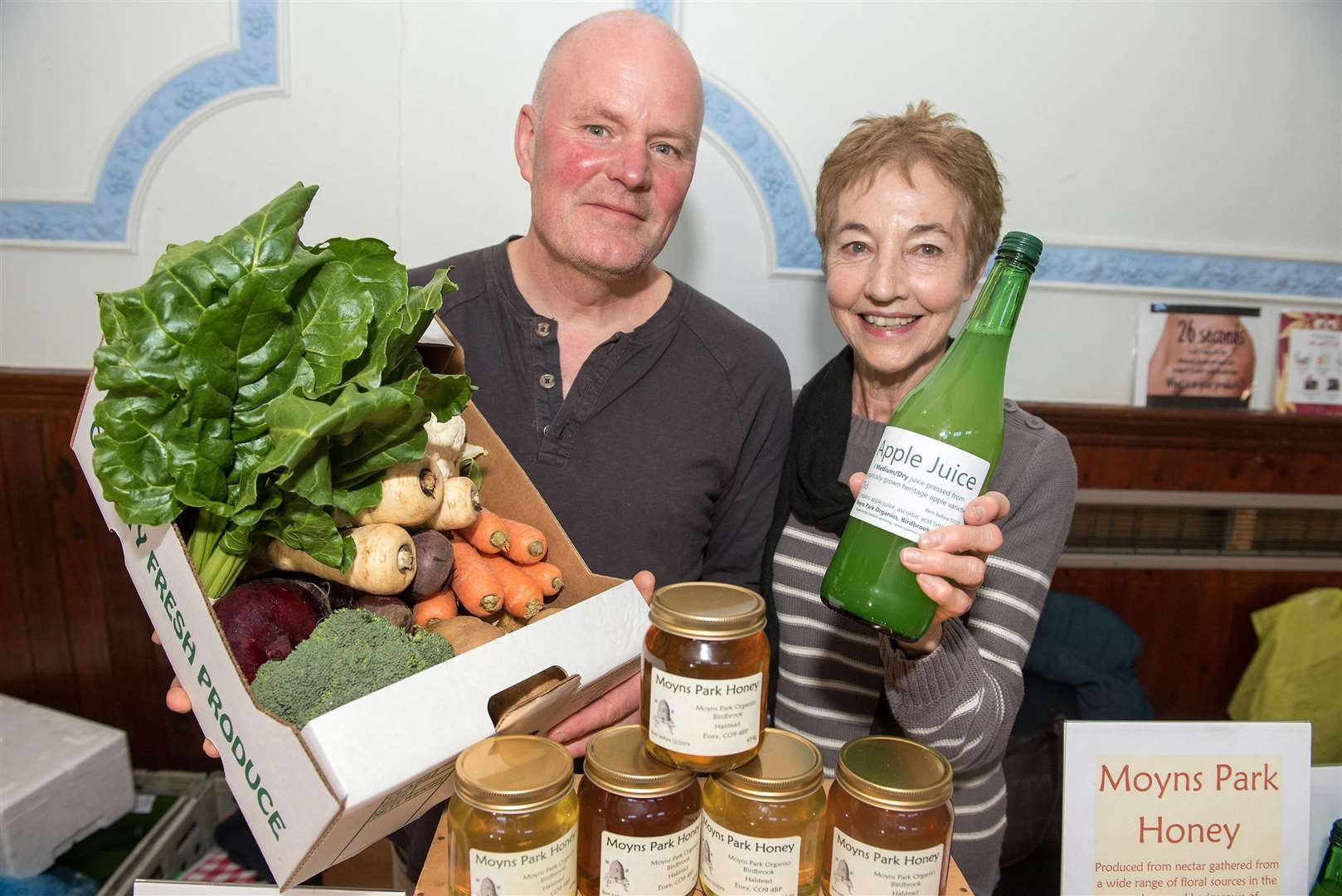 CLARE - FESTIVAL.Clare Town Hall, Market Hill, Clare.A healthy living festival is being staged in Clare in aid of a charity which tackles poverty in Haverhill. Moyns Park Organics Phillip and Jennifer Mizen Picture Mark Westley. (5476777)