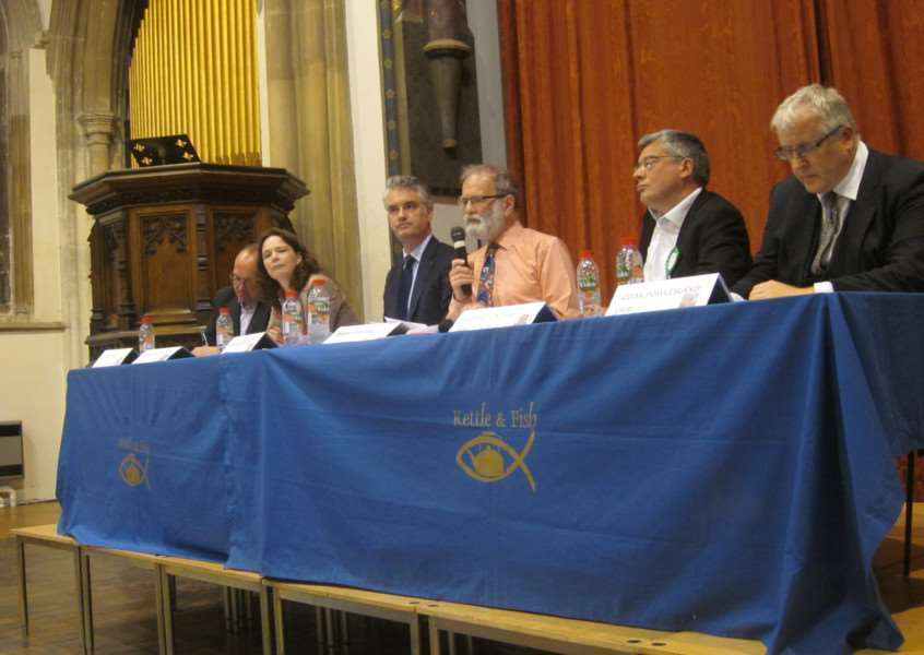 2017 South Suffolk general election hustings at St Peter's Church in Sudbury. From left: Nigel Bennett (Lib Dem), Emma Bishton (Labour), James Cartlidge (Conservative), moderator David Lamming, Robert Lindsay (Green), Aidan Powlesland (UKIP). Photo by Thomas Malina.