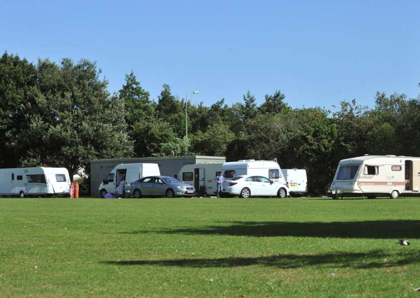 An illegal travellers' camp at Moreton Hall last month ANL-150408-102210009