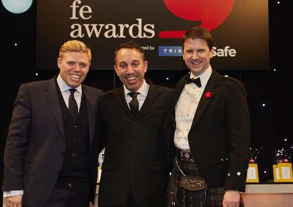 Pictured above are awards host Rob Beckett, Derek Johnson, from West Suffolk College, and David Russell, CEO of the Education and Training Foundation (ETF).