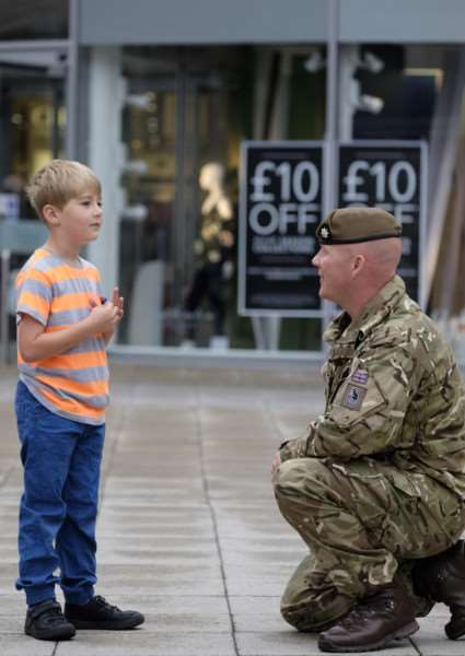 Army recruitment drive at the Arc Shopping centre in Bury St Edmunds. Pictured are Charlie Brockett and Sgt. Richard Phair, 3rd Bn. The Royal Anglian Regiment.''Picture: MARK BULLIMORE ANL-160917-220137009