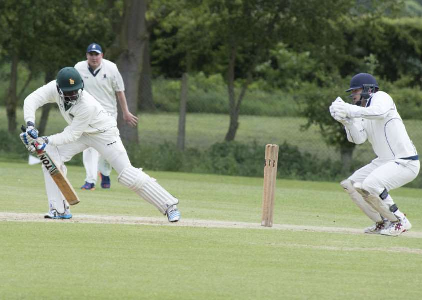 MATCH-CLINCHING PARTNERSHIP: Larvet Masunda (batting) helped Halstead to victory over Copford.