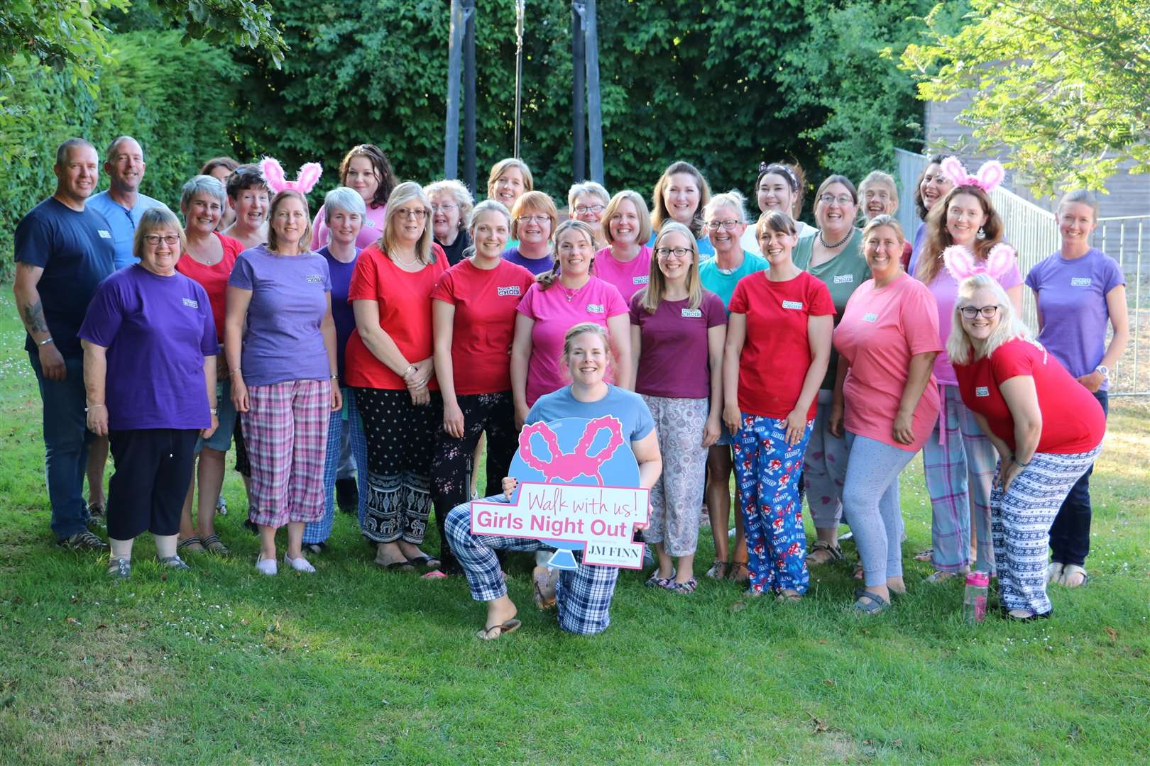 The Rock Vox Choir will be lending their voices to support Girls Night Out 2018 on Saturday, September 8 when thousands of women will don pyjamas and flashing bunny ears to walk 11.2 or six miles around Bury St Edmunds - the event is sponsored by JM Finn & Co (2921888)