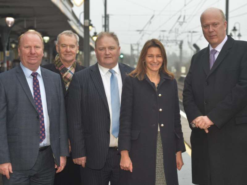 Transport secretary Chris Grayling, with Soham and Ely's MP Lucy Frazer, Cllr Charles Roberts, Cllr, John Clark, and Cllr Steve Count.