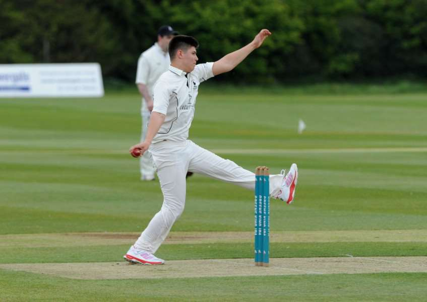 AWAY DEFEAT: James Turner runs in to bowl during Exning's loss at Bury II