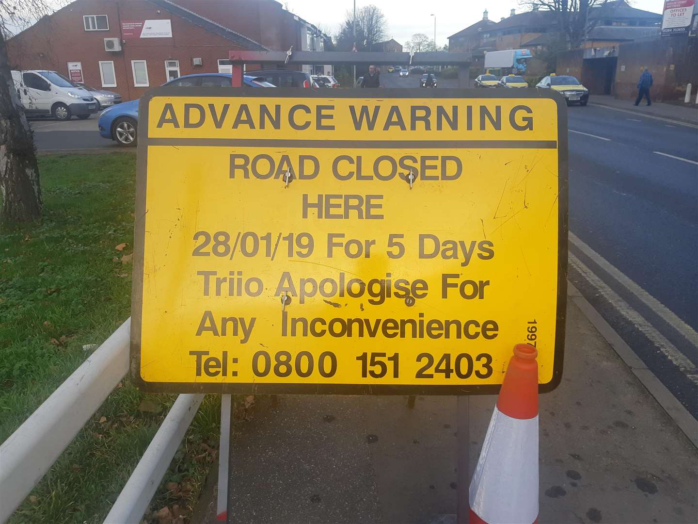 The road sign suggests Fred Archer Way will be closed (6533102)