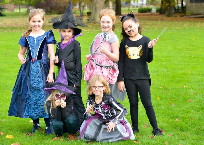 School of Sorcery and Magic at Kentwell Hall in Long Melord. Emily Hause (8), Sienna Smith (8), Jasmine Saxton (8), Hazel Akers (8), Lilia Watts (8) and Tia Flemming(9) having fun dressing up.