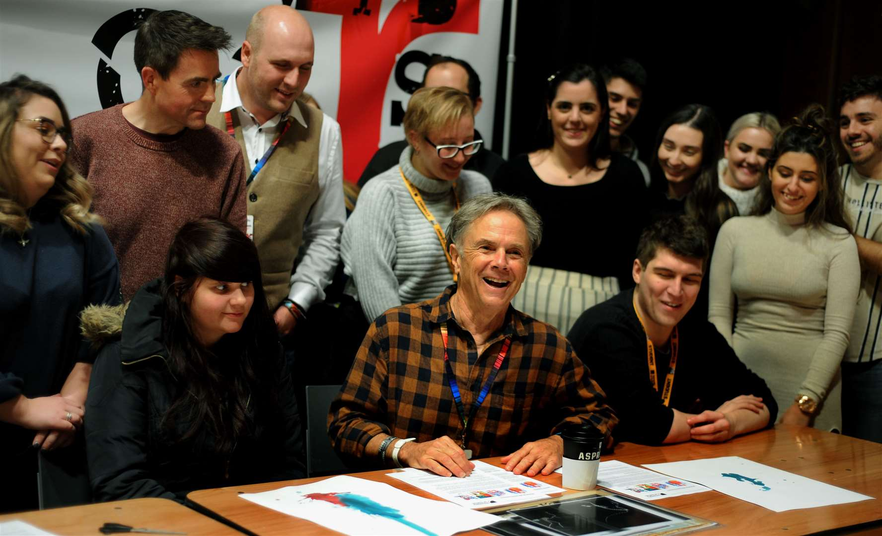 Award winning graphic artist David Carson with students at The Apex. Picture by Andy Abbott.