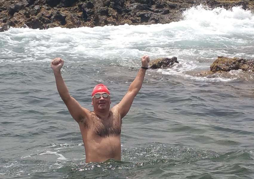 Dr Mig Arbide after swimming the 15km Bocaida crossing between Lanzarote and Fuerteventura last August