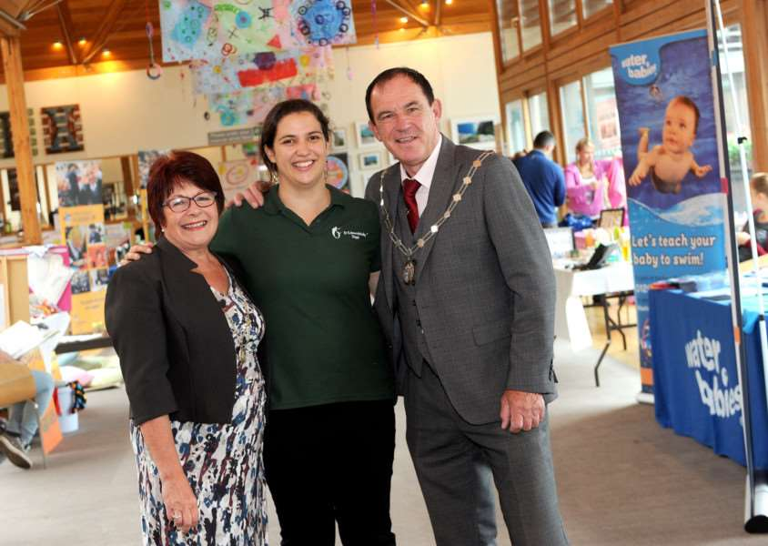 St Edmundsbaby Pregnancy and Parenting Fayre ''Pictured: Mayor of St Edmundsbury Terry Clements with wife Vivian and Steph Holland'''Picture: Mecha Morton