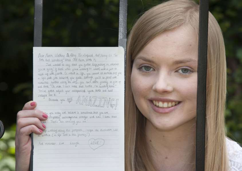 Mark Westley Photography'Emily Mason has been writing postive notes and leaving them around Bury St Edmunds, to cheer people up. ANL-150306-171545009