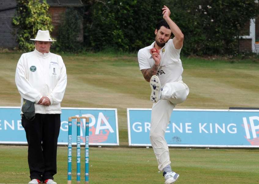 BEST FOOT FORWARD: Mark Nunn bowling for Bury against Norwich. The opener finished with figures of 3-76